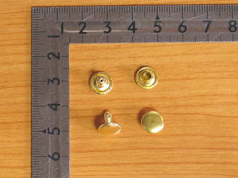 カシメ大両面足並 真鍮キリンス 頭9mm 足9mm 100個セットG金具屋_画像1