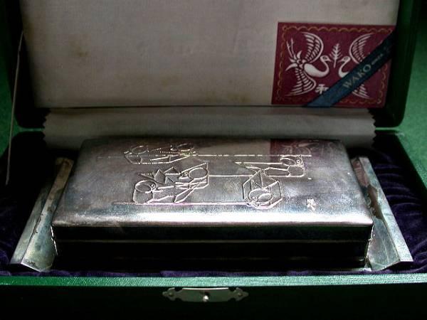 WAKO  銀座和光謹製 銀卓上煙草入 栞箱付古未使用作銘?雀?
