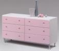 送料無料 ツヤありのピンク色 便利なスライドレール付の国産完成品チェスト(アジャスター機能付き脚は後付け)選べる3カラーx2タイプ