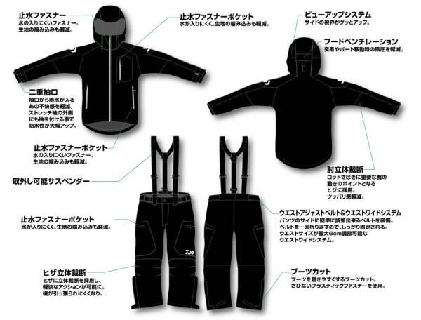 DAIWA D3-3105 RM ハイパーD3 バリアスーツ ブラック XL(LL)
