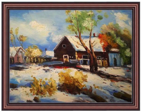 Pintura al óleo Pintura de paisaje Escena de nieve con una cabaña 30x40cm Pintura y pintura al óleo y naturaleza, pintura de paisaje