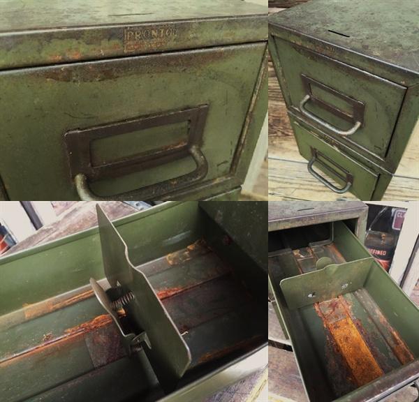 ビンテージ 2段 メタルケース 工具箱 ガレージ インダストリアル_画像2