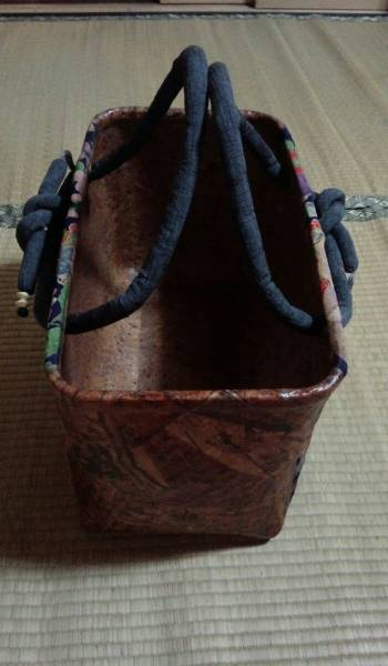 一閑張り籠、インテリア、一貫張り、一閑張り、籠、かご、カゴ、牡丹、手作り_画像2
