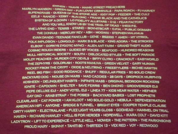 未使用 2001年UKロックフェス/レディング Tシャツ バーガンティM