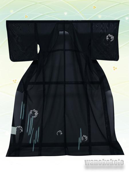 【和の志】夏の洗える着物◇絽・付下◇黒系・雪輪柄◇KRT102_画像1