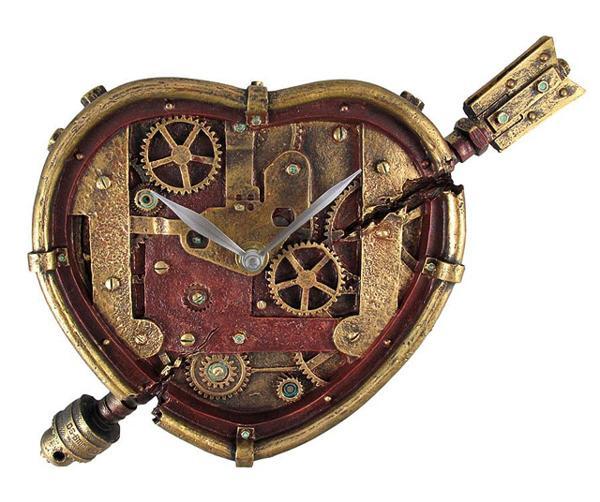 天使の矢で射られたハート形 スチームパンク風 壁掛け時計 彫像/ Steampunk Wall Clock Heart Pierced Cupid Gearwork (輸入品_画像1