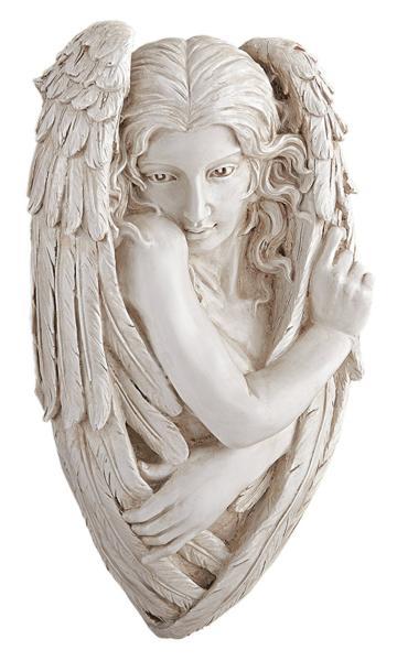 トリスタン、臆病な天使の大理石風 壁彫刻 彫像 / Design Toscano Tristan, the Timid Angel Wall Sculpture(輸入品_画像2
