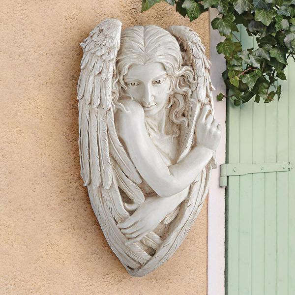 トリスタン、臆病な天使の大理石風 壁彫刻 彫像 / Design Toscano Tristan, the Timid Angel Wall Sculpture(輸入品_画像1