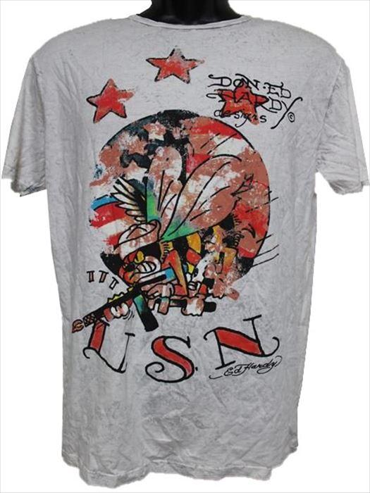 エドハーディー ED HARDY メンズ半袖Tシャツ Lサイズ SB437 ライトグレー 新品 アメリカ製_画像1