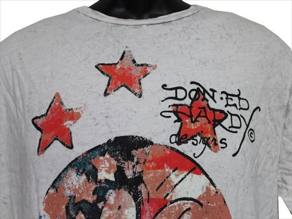 エドハーディー ED HARDY メンズ半袖Tシャツ Lサイズ SB437 ライトグレー 新品 アメリカ製_画像2