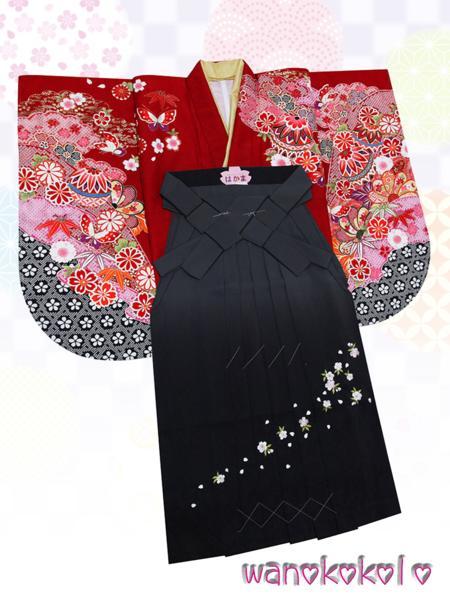 【和のこころキッズ】二尺袖着物・袴セット◇小学校卒業式◇DE12_画像1