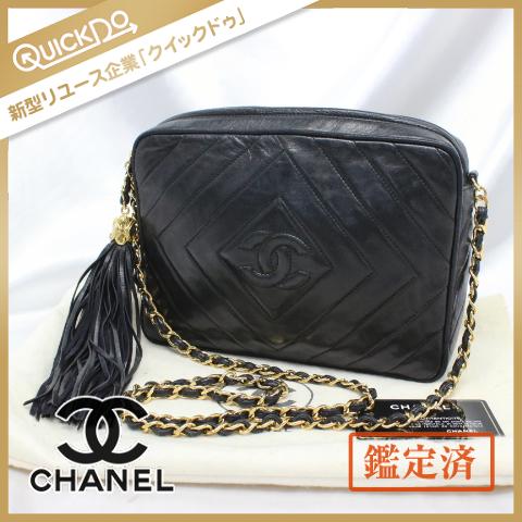 シャネル CHANEL チェーンショルダーバッグ ラムスキン タッセル ココマーク ブラック系 Gカード 保存袋付属