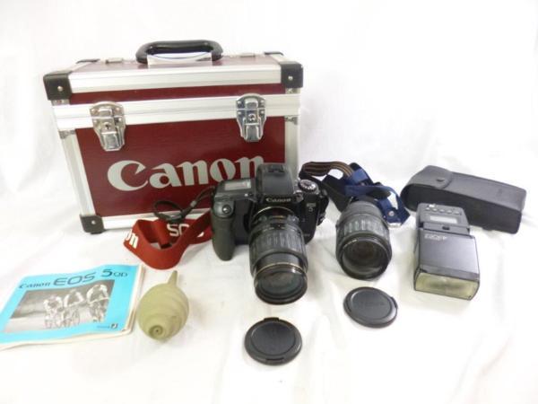 CANON キャノン EOS5QD EF 35-135mm F4-5.6 レンズ2本 フラッシュ 430EZ ハードケースまとめてジャンク
