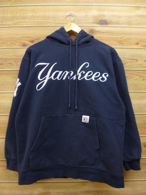 L★古着 スウェット パーカー MLB ニューヨークヤンキース 紺 ネイビー 中古 メンズ 長袖 スエット トレーナー トップス グッズの画像