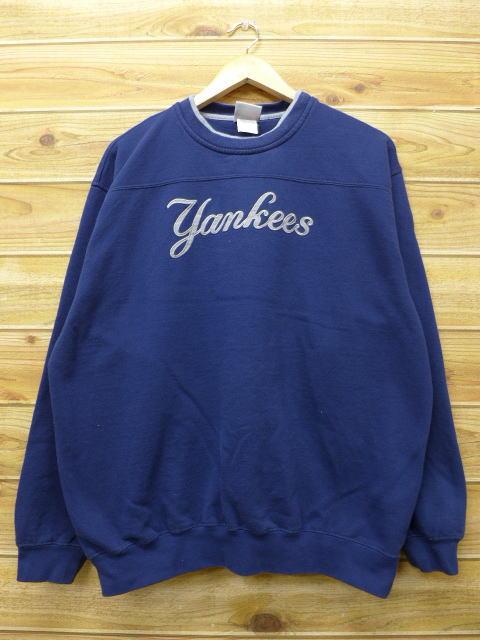 XL★古着 中古 スウェット MLB ニューヨークヤンキース 紺 17mar02 グッズの画像