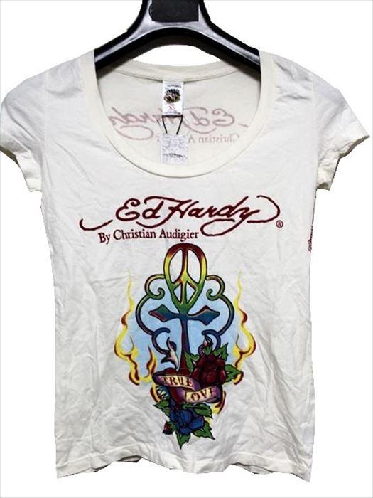 エドハーディー ED HARDY レディース半袖Tシャツ SCOOP-NECK XSサイズ PEACE CROSS 新品_画像1