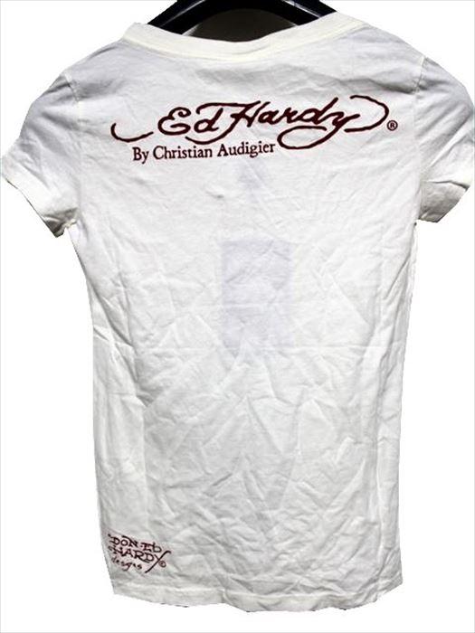 エドハーディー ED HARDY レディース半袖Tシャツ SCOOP-NECK XSサイズ PEACE CROSS 新品_画像3