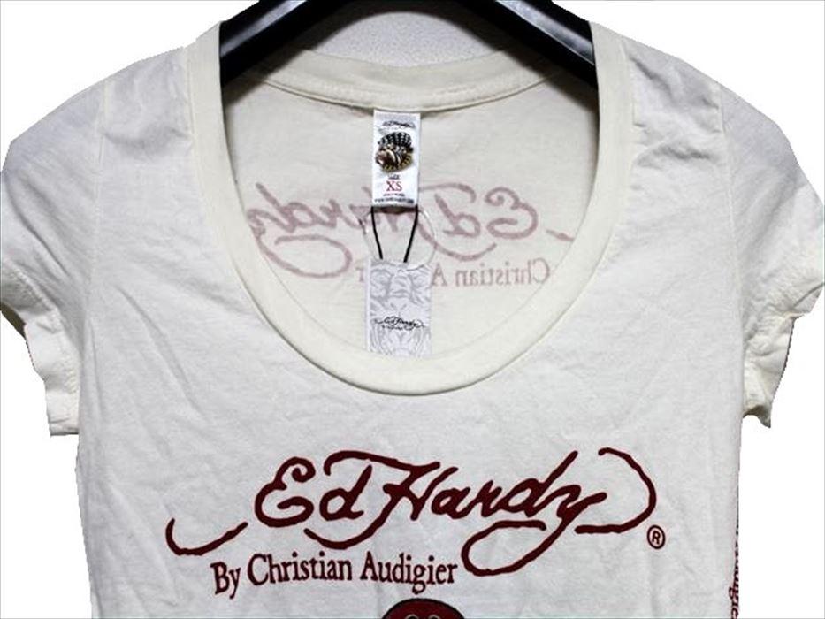 エドハーディー ED HARDY レディース半袖Tシャツ SCOOP-NECK XSサイズ PEACE CROSS 新品_画像2