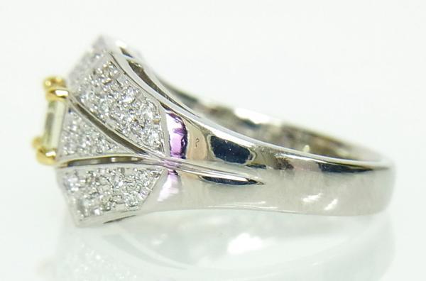 ありがとうございます送料込みの即決価格!綺麗な角型天然イエローダイヤモンド0.739ct プラチナ製 リング 卸価格でご奉仕_画像3
