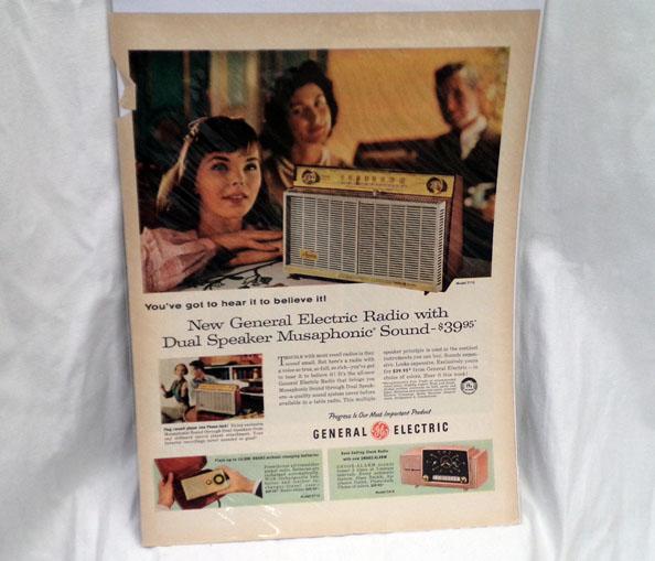 希少!LIFE誌切り抜き★GENERAL ELECTRIC RADIO ジェネラル電気 1950年代 AUDIO★ビンテージ雑誌LIFE(ライフ)切抜き