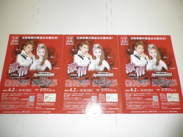 珠城りょう宝塚月組全国ツアー「激情」チラシ(富山)愛希 3枚