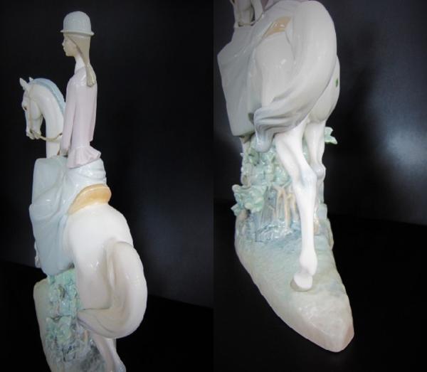 【W】●リヤドロ●陶器人形 乙女シリーズ 白い馬の少女 置物_画像4