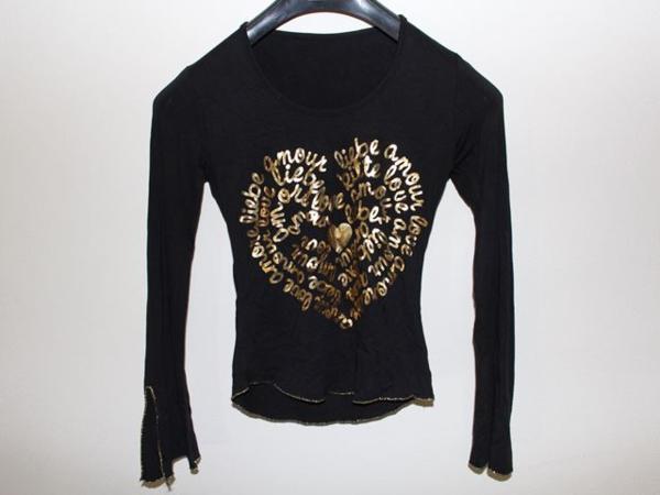 イタリア製 レディース長袖Tシャツ ブラック Mサイズ 新品_画像1
