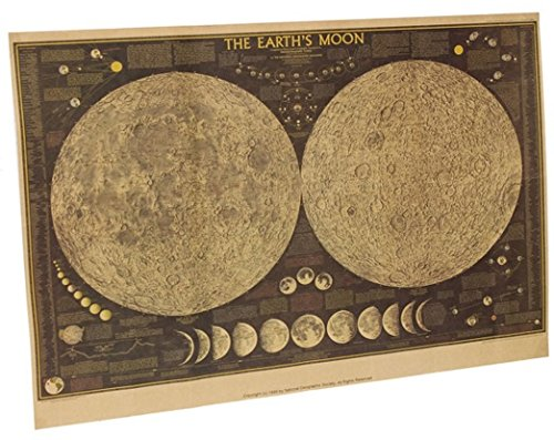 kk269 ムーン月面地図マップ28×18インチレトロ紙ポスター