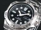 【逆輸入SEIKO】セイコー メンズ腕時計 スクリューバック ダイバーズ ソーラー ブラックダイアル シルバーステンレスベルト 200M防水