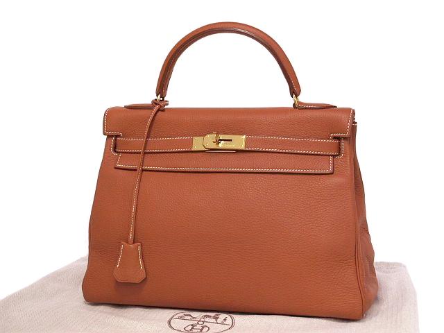 エルメス ケリー32 ブラウン □A刻印 1997年製 トゴ 内縫い 2WAYバッグ ハンドバッグ