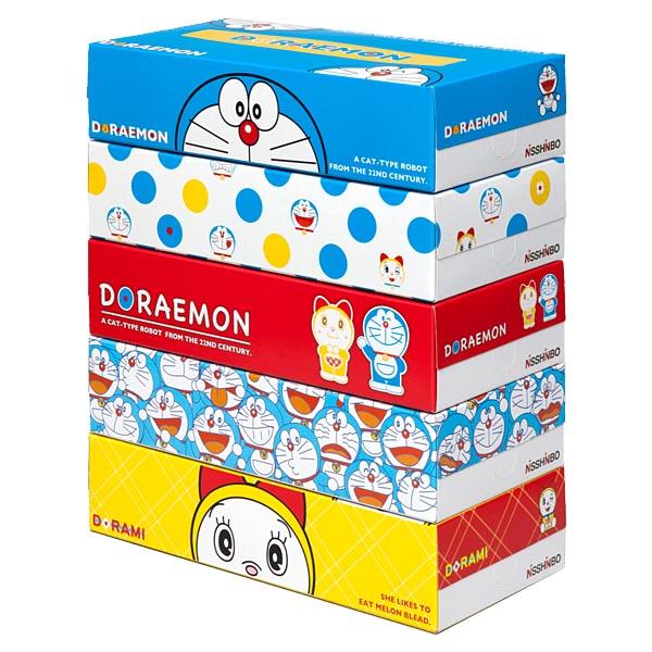 ◆33 企業様向け BtoB ドラえもん ボックスティッシュ 日清紡 150W 300枚 5箱パック ×12組 60個 グッズの画像