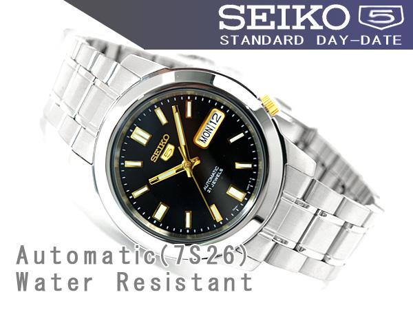 【1円】【逆輸入SEIKO5】【完売品】【新品】【正規品】セイコー5 メンズ 自動巻き 腕時計 ブラック×ゴールドダイアル ステンレスベルト_画像3