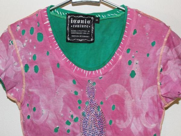 アイコニック ICONIC COUTURE レディース半袖Tシャツ Sサイズ ピンク 新品_画像3