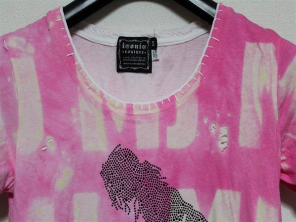 アイコニック ICONIC マイケルジャクソン レディース半袖Tシャツ ピンク Sサイズ 新品_画像2