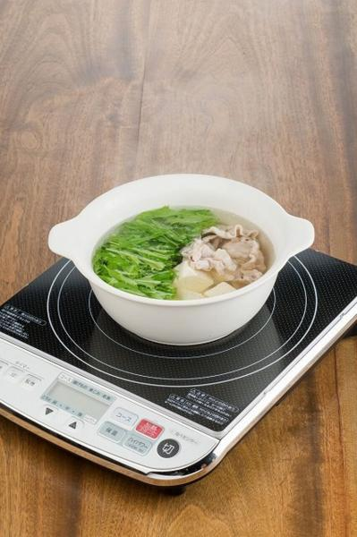 2セット IH対応陶器 陶製ラーメン鉢 白×2セット 木製鍋_画像3