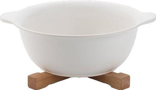 2セット IH対応陶器 陶製ラーメン鉢 白×2セット 木製鍋_画像1