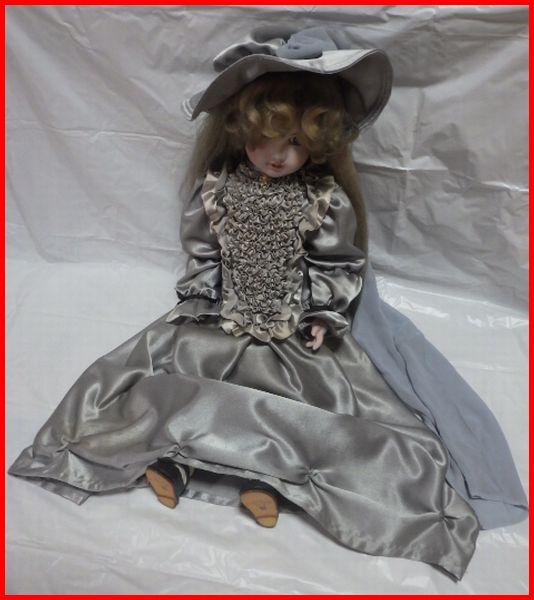 送料込★Collectors Dollコレクターズドース★CD-111 AC NO.058■ビスクドール陶器 人形■水色のドレス【木箱付】全長約66cm