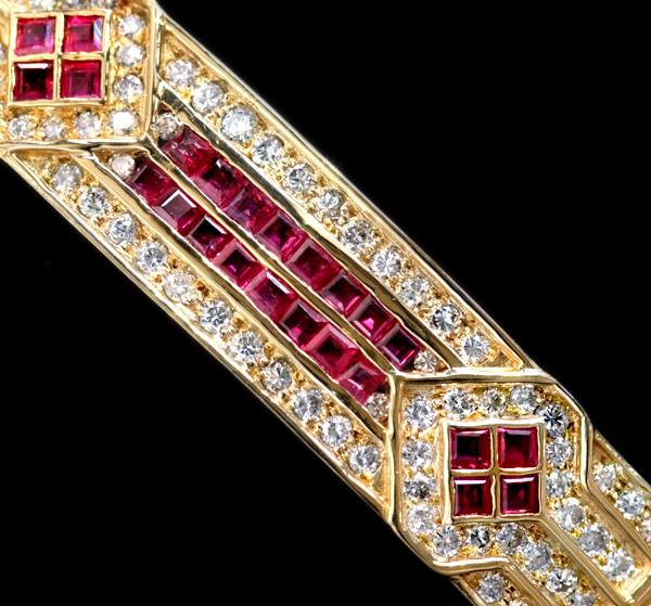 E4899 ルビー 絶品ダイヤモンド 最高級18金ユニセックスブレスレット 腕周り20cm 重量38.