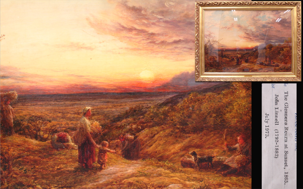 慶應◆19世紀英国有名画家【John Linnell ジョン・リンネル】作 油彩40号風景画『夕暮れ