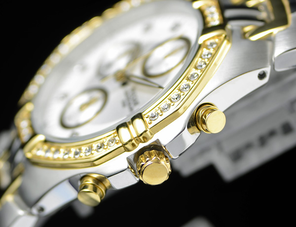 豪華スワロフスキー満載 1円×2本セイコー逆輸入PULSAR 50m防水 男性用 クロノグラフ 希少な日本未発売モデル 腕時計 新品未使用 SEIKO_堅牢なソリッドステンレス