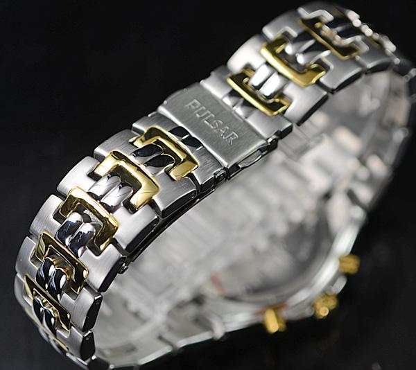 豪華スワロフスキー満載 1円×2本セイコー逆輸入PULSAR 50m防水 男性用 クロノグラフ 希少な日本未発売モデル 腕時計 新品未使用 SEIKO_ワンプッシュバックル