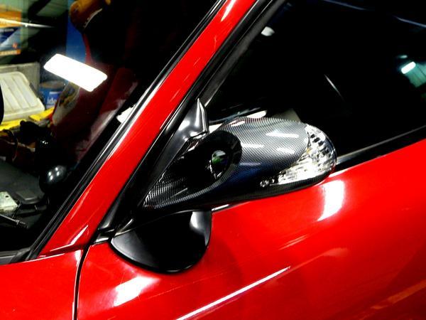 マツダ FD3S RX-7 LEDウインカー付 エアロミラーK6 カーボンタイプ ブラック メッキ_画像5