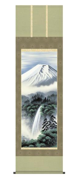 掛け軸 日本製 山水風景 「富士幽谷」 鈴村秀山 尺五寸_画像1