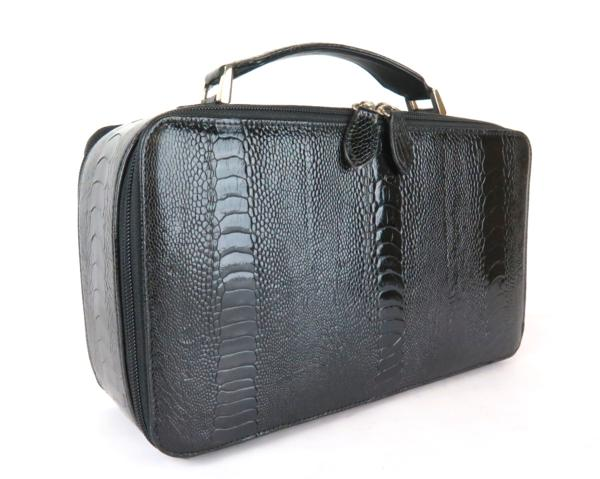 オーストリッチ ダチョウ足革 コスメバッグ マルチバッグ ブラック 化粧品 収納 メンズ レディース