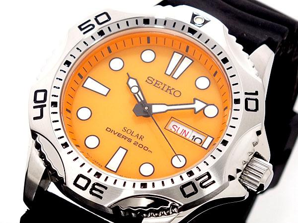 正規品【逆輸入SEIKO】セイコー メンズ スクリューバック ダイバーズ ソーラー オレンジダイアル シウレタンベルト 200M防水 腕時計