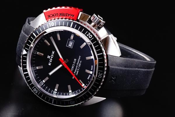 新品本物EDOX/エドックスHYDROSUBハイドロサブ500m防水RED保証_画像2