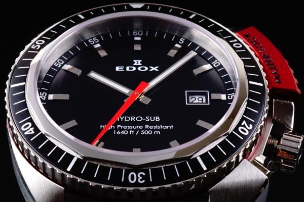 新品本物EDOX/エドックスHYDROSUBハイドロサブ500m防水RED保証