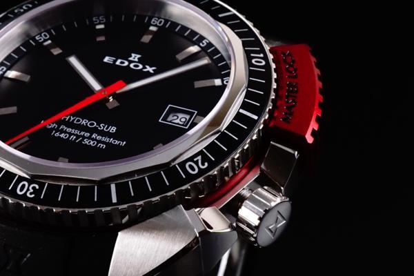 新品本物EDOX/エドックスHYDROSUBハイドロサブ500m防水RED保証_画像6