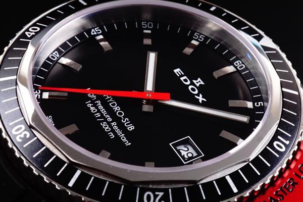 新品本物EDOX/エドックスHYDROSUBハイドロサブ500m防水RED保証_画像8