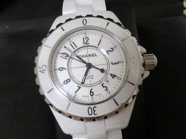 シャネル J12 H0968 セラミック ホワイト デイト 200m防水 クォーツ レディース 腕時計 CHANEL☆ 【中古】 mk1370
